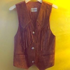 🏜 Vintage Leather Vest with Fringe